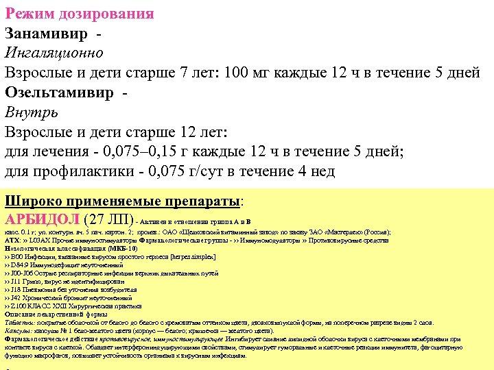 Режим дозирования Занамивир Ингаляционно Взрослые и дети старше 7 лет: 100 мг каждые 12