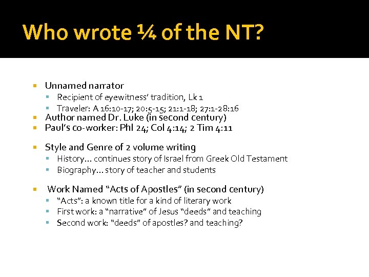 Who wrote ¼ of the NT? Unnamed narrator Recipient of eyewitness' tradition, Lk 1