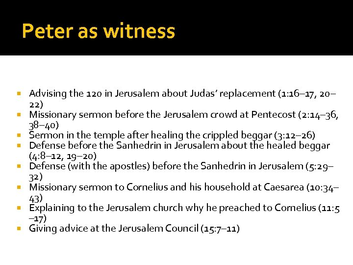 Peter as witness Advising the 120 in Jerusalem about Judas' replacement (1: 16– 17,