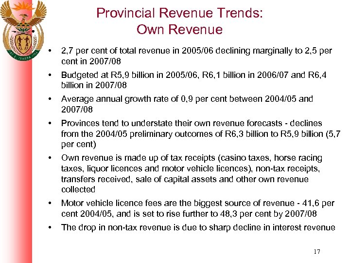 Provincial Revenue Trends: Own Revenue • 2, 7 per cent of total revenue in