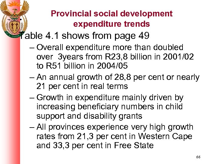 Provincial social development expenditure trends Table 4. 1 shows from page 49 – Overall