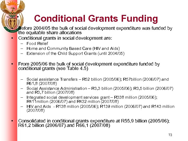 Conditional Grants Funding • • Before 2004/05 the bulk of social development expenditure was