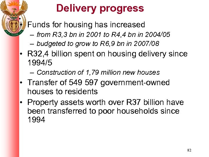 Delivery progress • Funds for housing has increased – from R 3, 3 bn