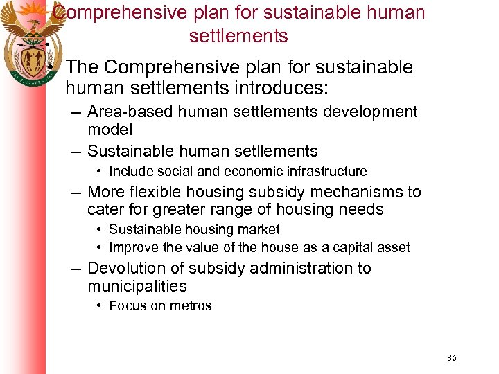 Comprehensive plan for sustainable human settlements • The Comprehensive plan for sustainable human settlements