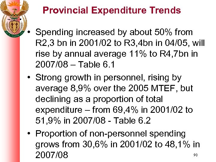 Provincial Expenditure Trends • Spending increased by about 50% from R 2, 3 bn