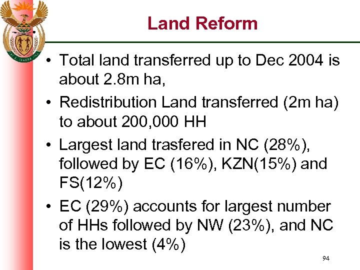 Land Reform • Total land transferred up to Dec 2004 is about 2. 8