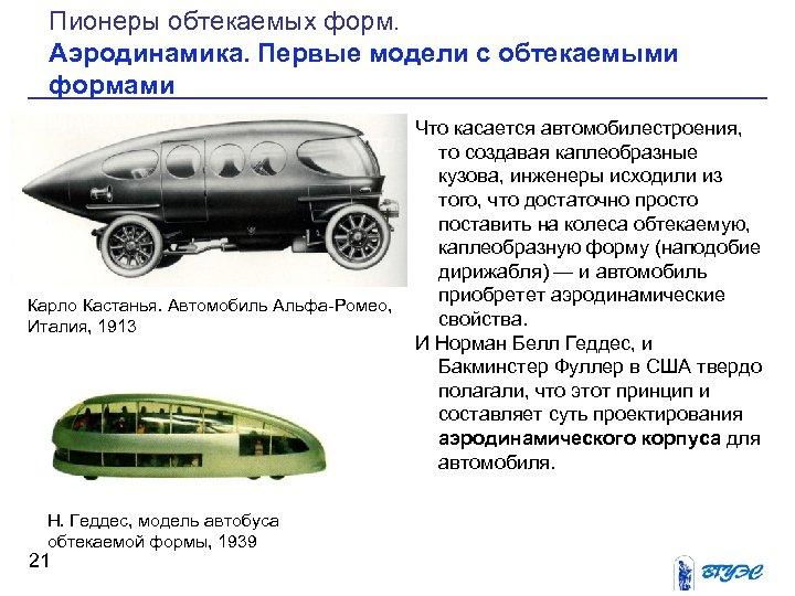 Пионеры обтекаемых форм. Аэродинамика. Первые модели с обтекаемыми формами Карло Кастанья. Автомобиль Альфа Ромео,