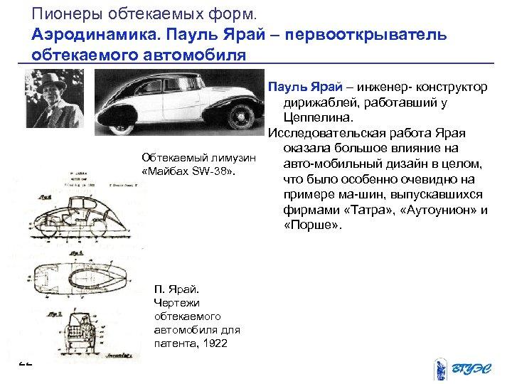 Пионеры обтекаемых форм. Аэродинамика. Пауль Ярай – первооткрыватель обтекаемого автомобиля Пауль Ярай – инженер