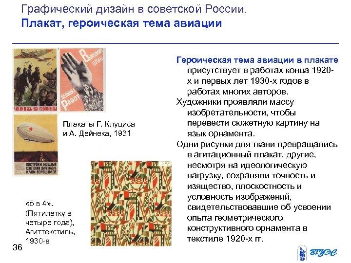 Графический дизайн в советской России. Плакат, героическая тема авиации Плакаты Г. Клуциса и А.