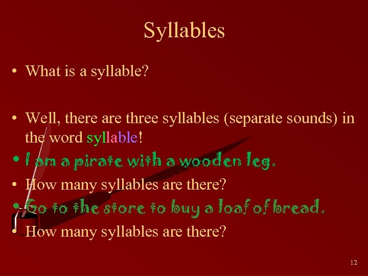 Syllables • What is a syllable? • Well, there are three syllables (separate sounds)