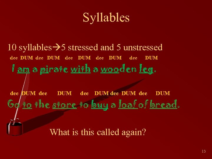 Syllables 10 syllables 5 stressed and 5 unstressed dee DUM dee DUM dee DUM