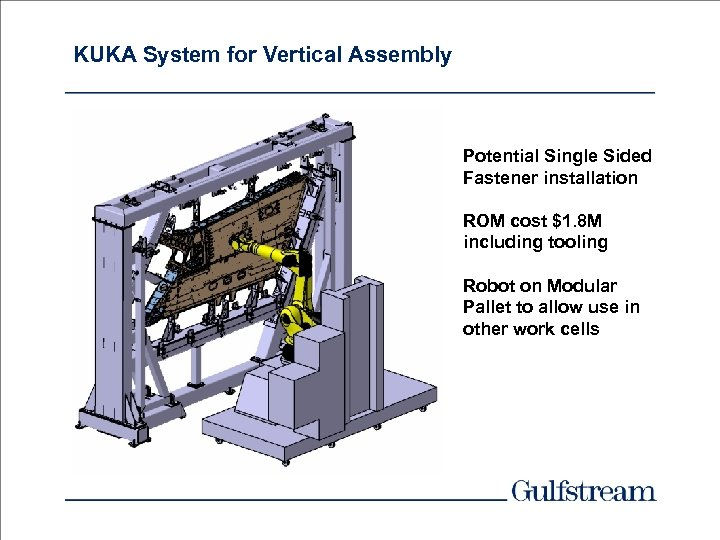 KUKA System for Vertical Assembly Potential Single Sided Fastener installation ROM cost $1. 8