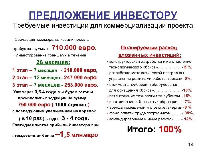 ПРЕДЛОЖЕНИЕ ИНВЕСТОРУ Требуемые инвестиции для коммерциализации проекта Сейчас для коммерциализации проекта требуется сумма в