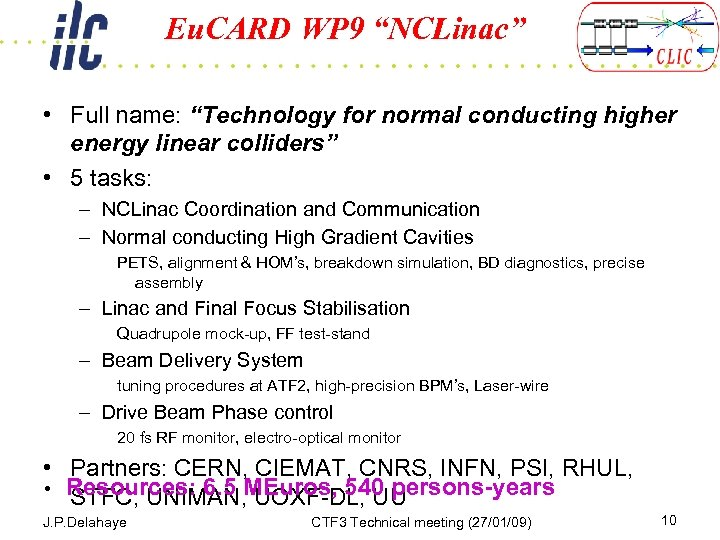 """Eu. CARD WP 9 """"NCLinac"""" • Full name: """"Technology for normal conducting higher energy"""