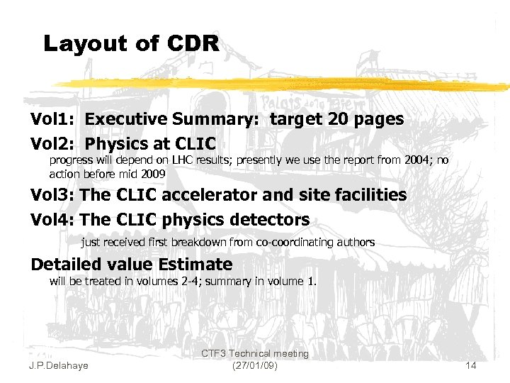 Layout of CDR Vol 1: Executive Summary: target 20 pages Vol 2: Physics at