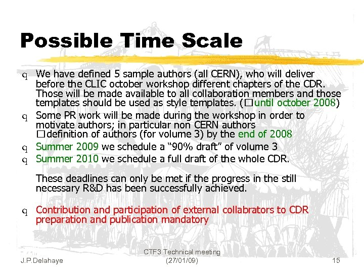 Possible Time Scale q We have defined 5 sample authors (all CERN), who will