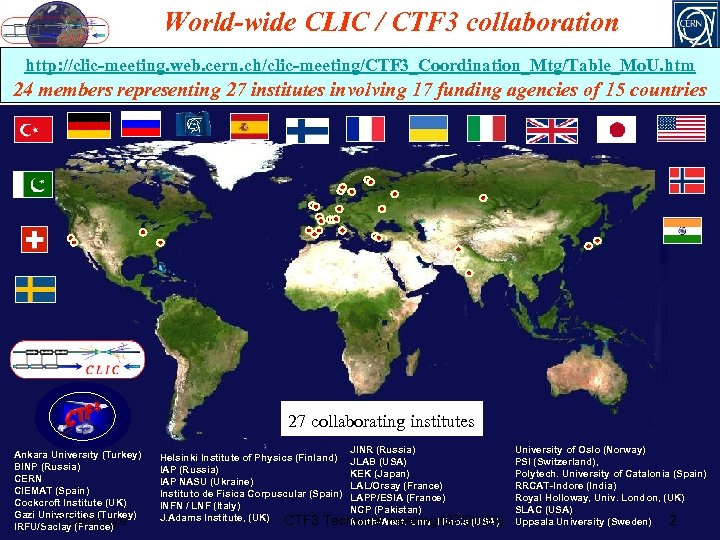 World-wide CLIC / CTF 3 collaboration http: //clic-meeting. web. cern. ch/clic-meeting/CTF 3_Coordination_Mtg/Table_Mo. U. htm