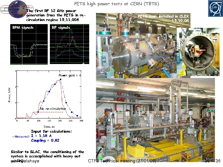 PETS high power tests at CERN (TBTS) The first RF 12 GHz power generation