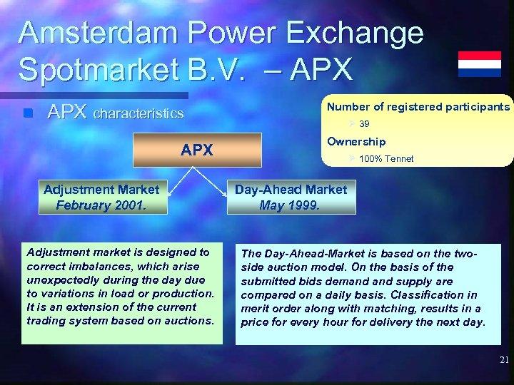 Amsterdam Power Exchange Spotmarket B. V. – APX n APX characteristics APX Adjustment Market