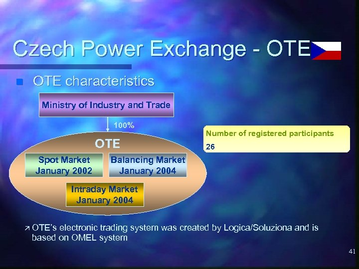 Czech Power Exchange - OTE n OTE characteristics Ministry of Industry and Trade 100%