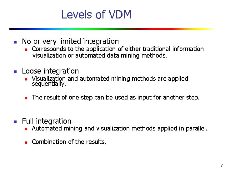 Levels of VDM n No or very limited integration Corresponds to the application of