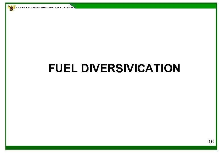 SECRETARIAT GENERAL OF NATIONAL ENERGY COUNCIL FUEL DIVERSIVICATION 16