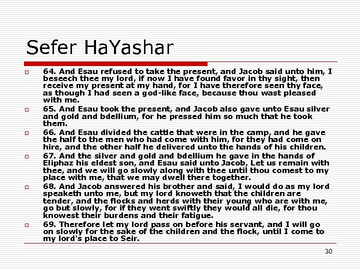 Sefer Ha. Yashar o o o 64. And Esau refused to take the present,