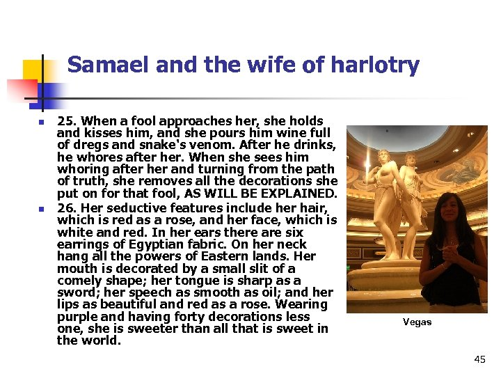Samael and the wife of harlotry n n 25. When a fool approaches her,