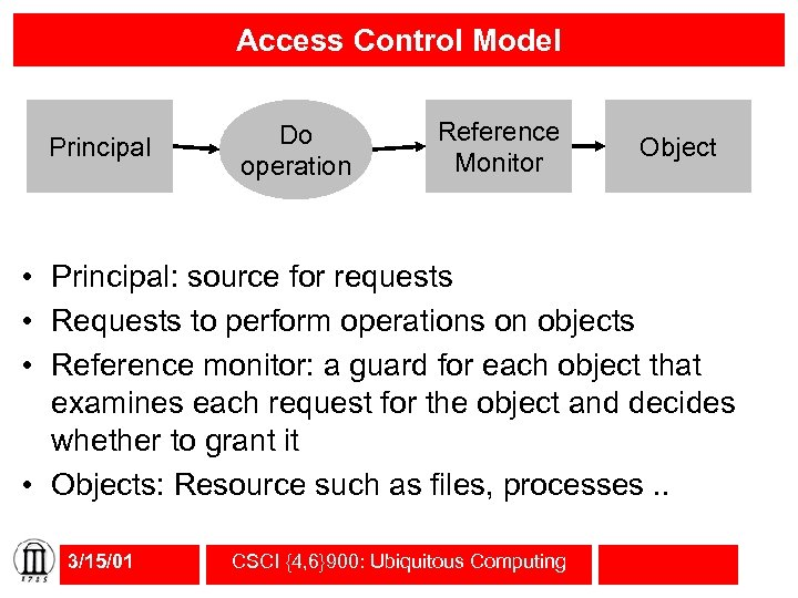 Access Control Model Principal Do operation Reference Monitor Object • Principal: source for requests