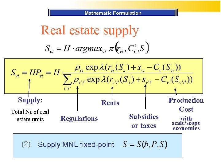 Mathematic Formulation Real estate supply Supply: Total Nr of real estate units (2) Rents