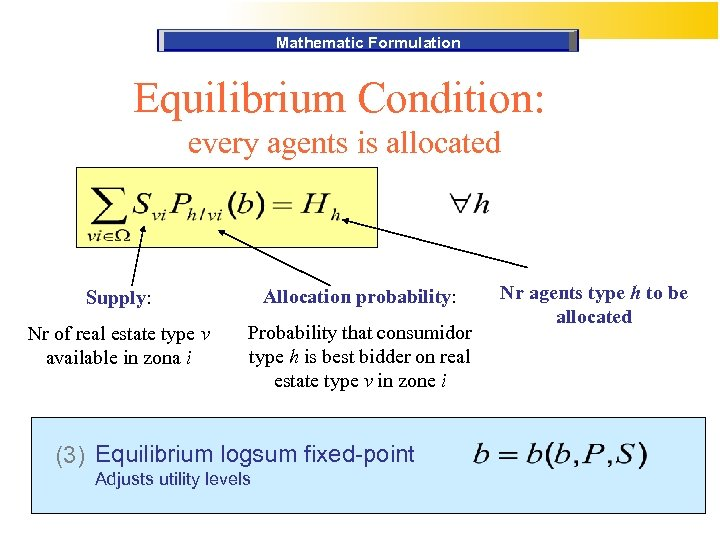 Mathematic Formulation Equilibrium Condition: every agents is allocated Supply: Allocation probability: Nr of real