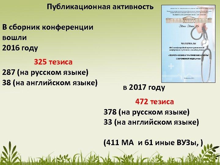 Публикационная активность В сборник конференции вошли 2016 году 325 тезиса 287 (на русском языке)