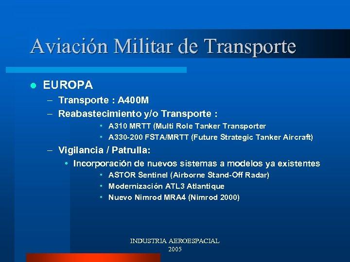 Aviación Militar de Transporte l EUROPA – Transporte : A 400 M – Reabastecimiento