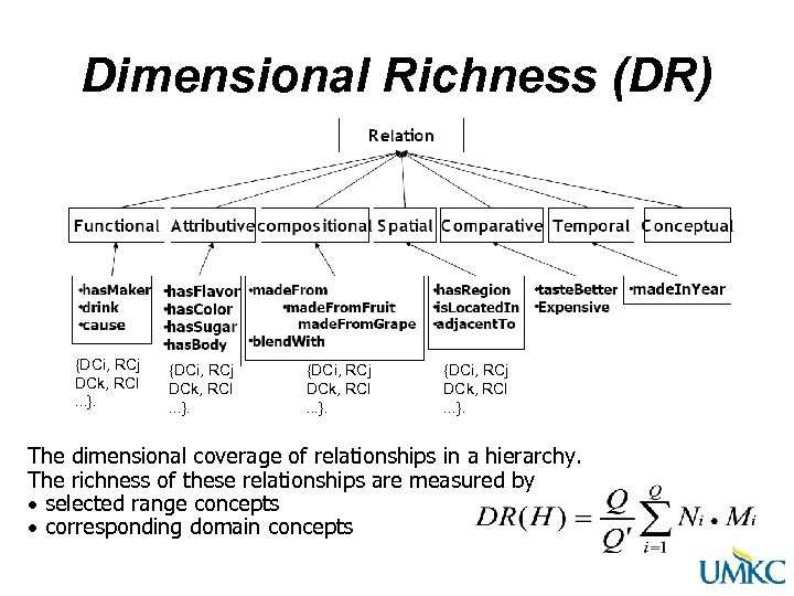 Dimensional Richness (DR) {DCi, RCj DCk, RCl. . . }. The dimensional coverage of