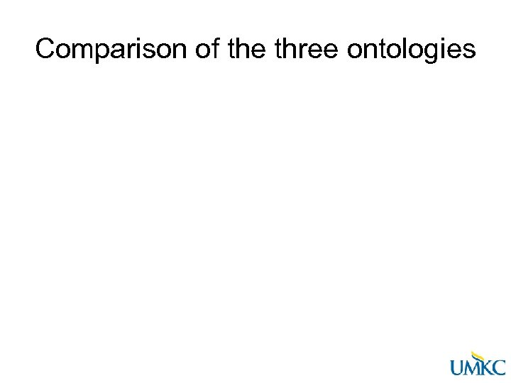 Comparison of the three ontologies