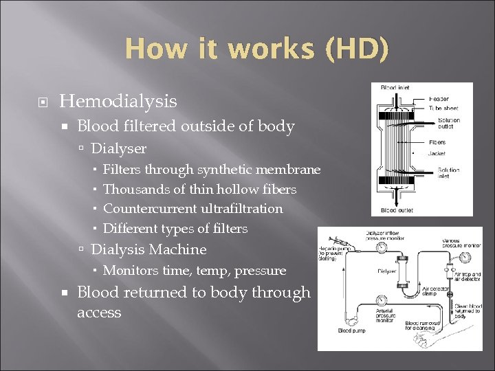 How it works (HD) Hemodialysis Blood filtered outside of body Dialyser Filters through synthetic