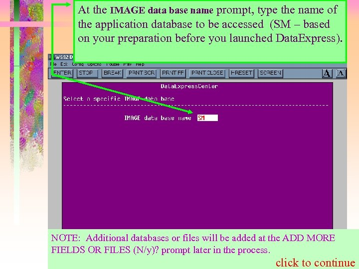 At the IMAGE data base name prompt, type the name of the application database