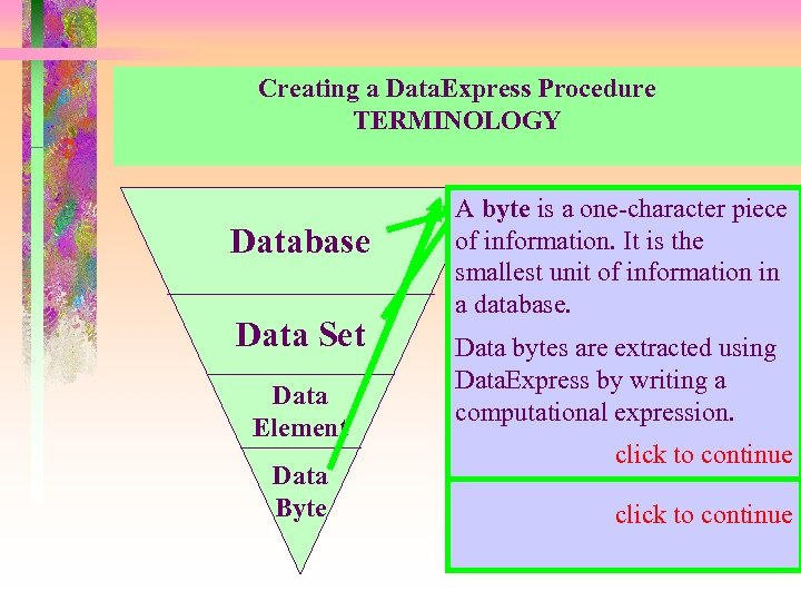 Creating a Data. Express Procedure TERMINOLOGY Database Data Set Data Element Data Byte AA