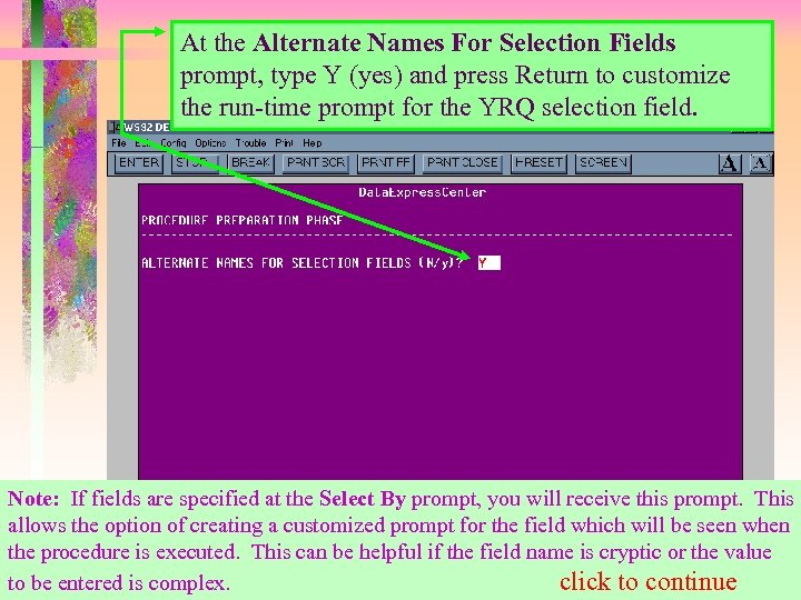 At the Alternate Names For Selection Fields prompt, type Y (yes) and press Return