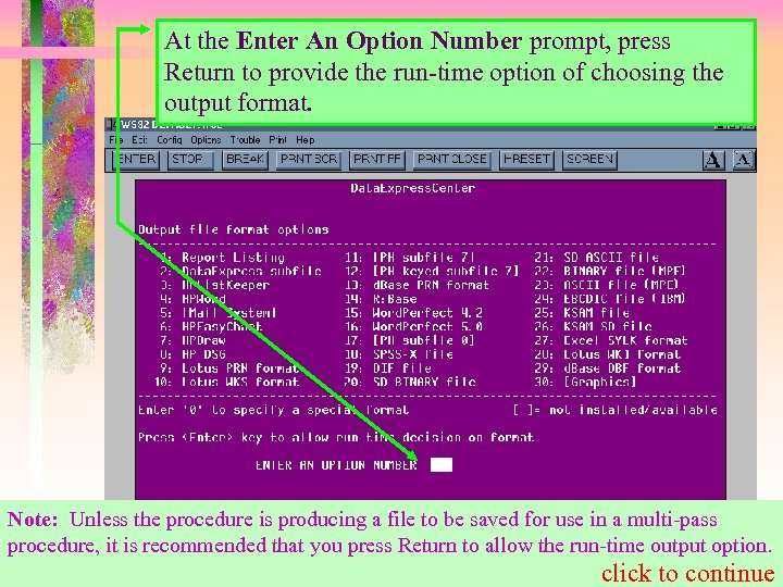 At the Enter An Option Number prompt, press Return to provide the run-time option