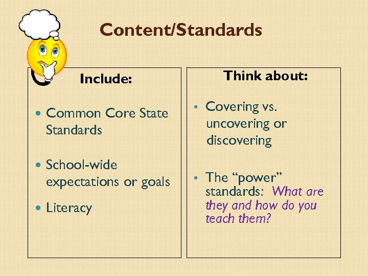 Content/Standards Think about: Include: Common Core State Standards School-wide expectations or goals Literacy •
