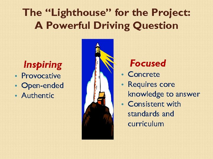 """The """"Lighthouse"""" for the Project: A Powerful Driving Question Inspiring • • • Provocative"""