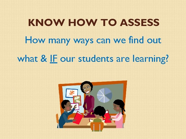 KNOW HOW TO ASSESS How many ways can we find out what & IF