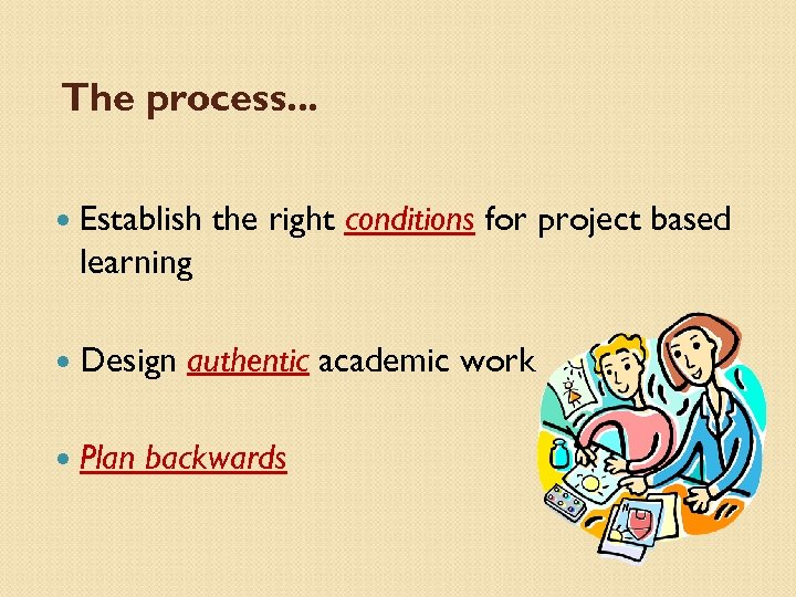 The process. . . Establish the right conditions for project based learning Design Plan
