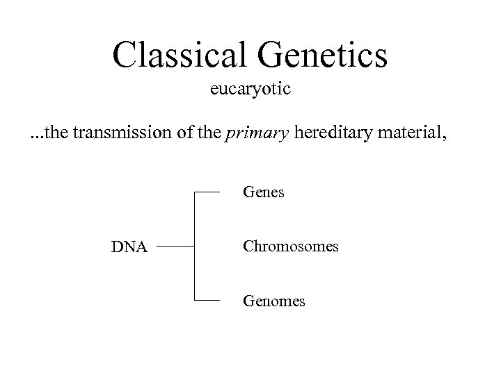 Classical Genetics eucaryotic. . . the transmission of the primary hereditary material, Genes DNA