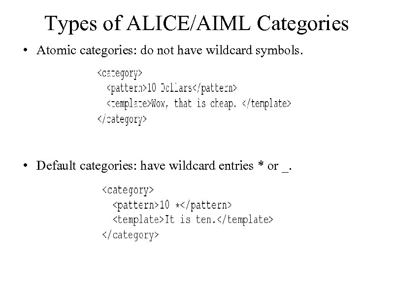 Types of ALICE/AIML Categories • Atomic categories: do not have wildcard symbols. • Default