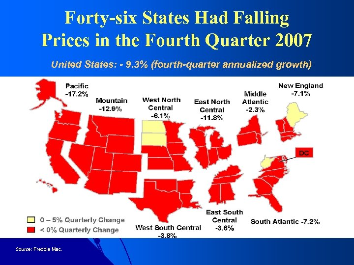 Forty-six States Had Falling Prices in the Fourth Quarter 2007 United States: - 9.