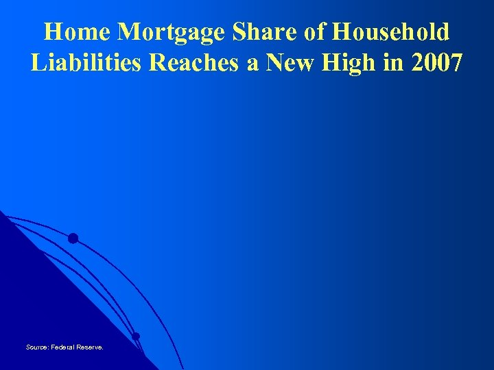 Home Mortgage Share of Household Liabilities Reaches a New High in 2007 Source: Federal