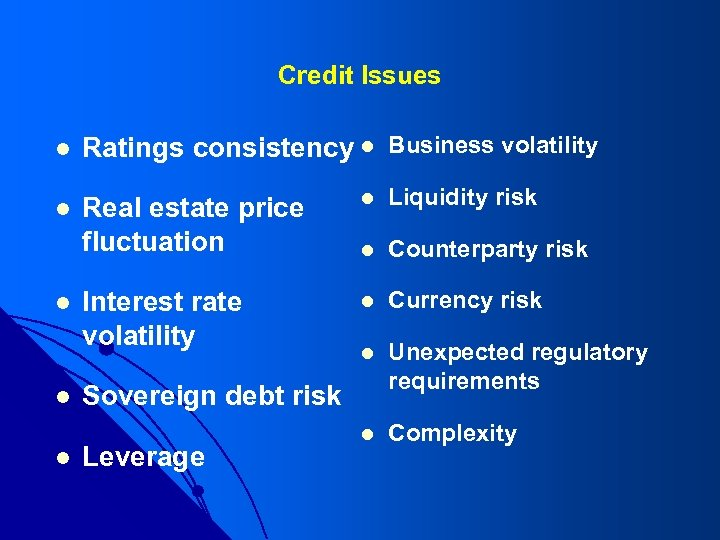 Credit Issues l Ratings consistency l Business volatility l Real estate price fluctuation l