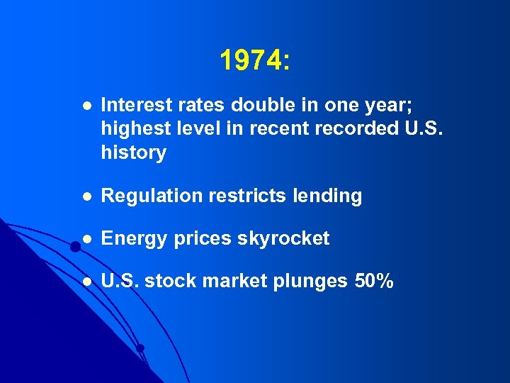1974: l Interest rates double in one year; highest level in recent recorded U.